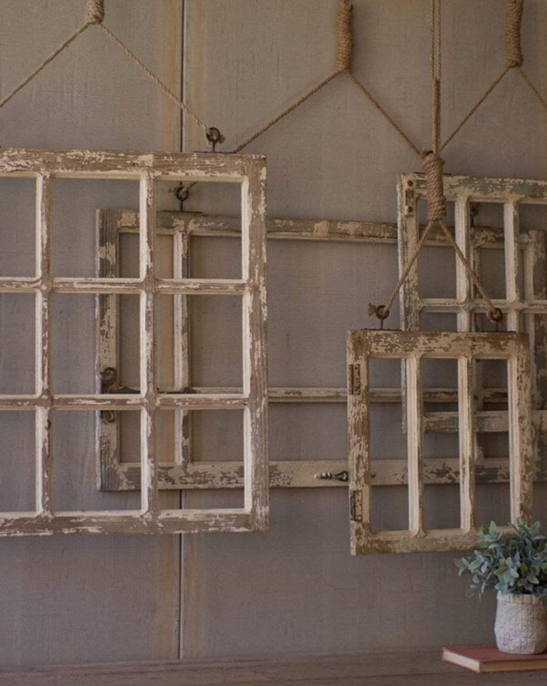 Ideas for old window frames  grid of window frames  chippy distressed shabby painted furniture