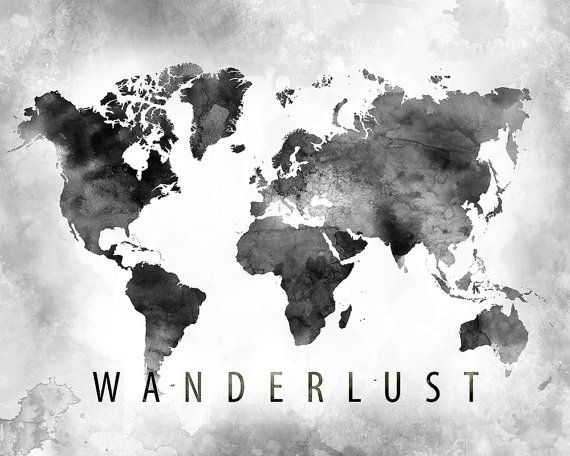 Wanderlust watercolor map print world map print black and white wanderlust watercolor map print world map print black and white watercolor map poster cabinet decor map wall decor cartography art frame is n gumiabroncs Gallery
