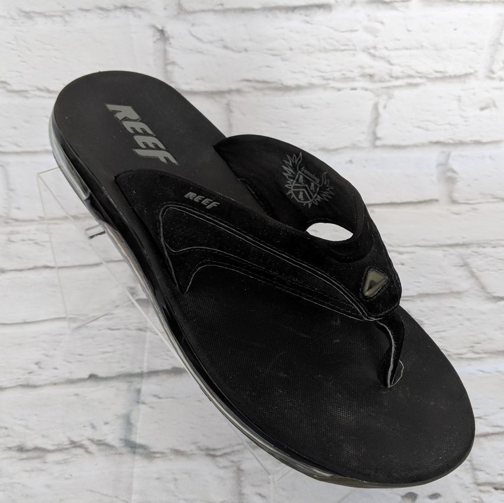 d897be83673c30 Reef Fanning Flip Flop Sandal MENS SIZE 12 Black BOTTLE OPENER  Reef ...