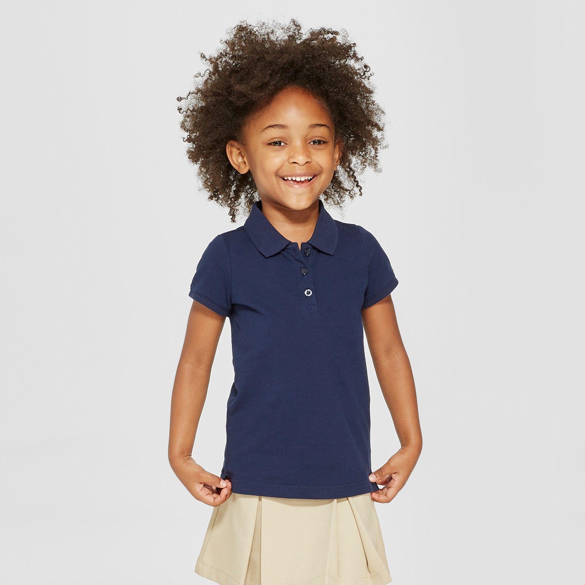 684487aac Toddler Girls' Short Sleeve Pique Polo Shirt - Cat & Jack Navy (Blue) 3T