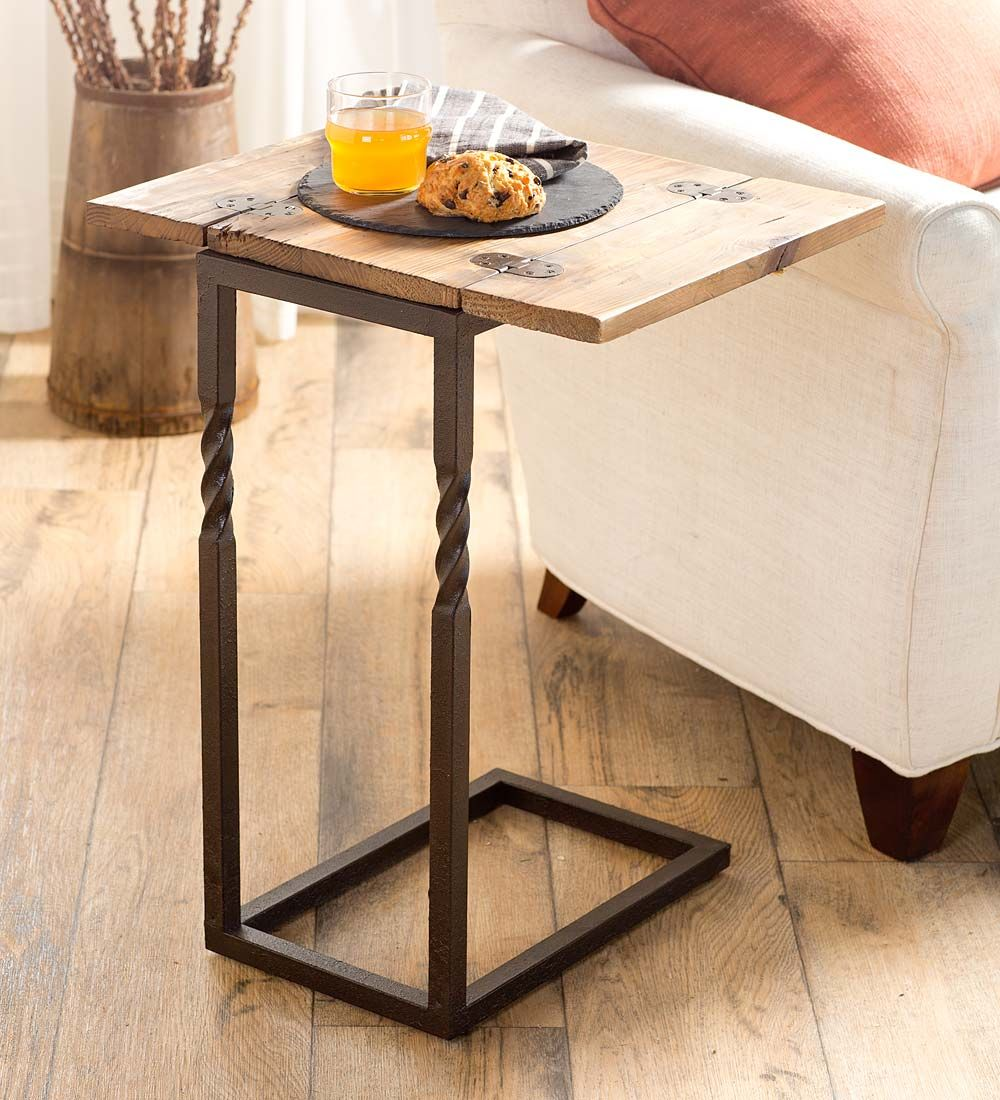 Deep creek pull up table in rustic wood and metal accent tables deep creek pull up table in rustic wood and metal accent tables space geotapseo Choice Image