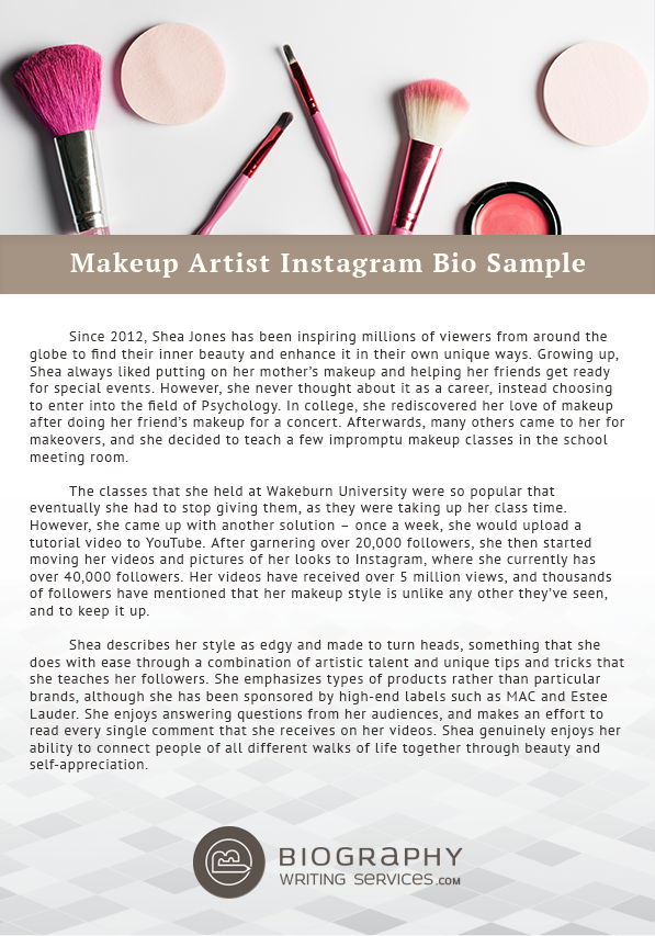 Click on this link for makeup artist Instagram bio