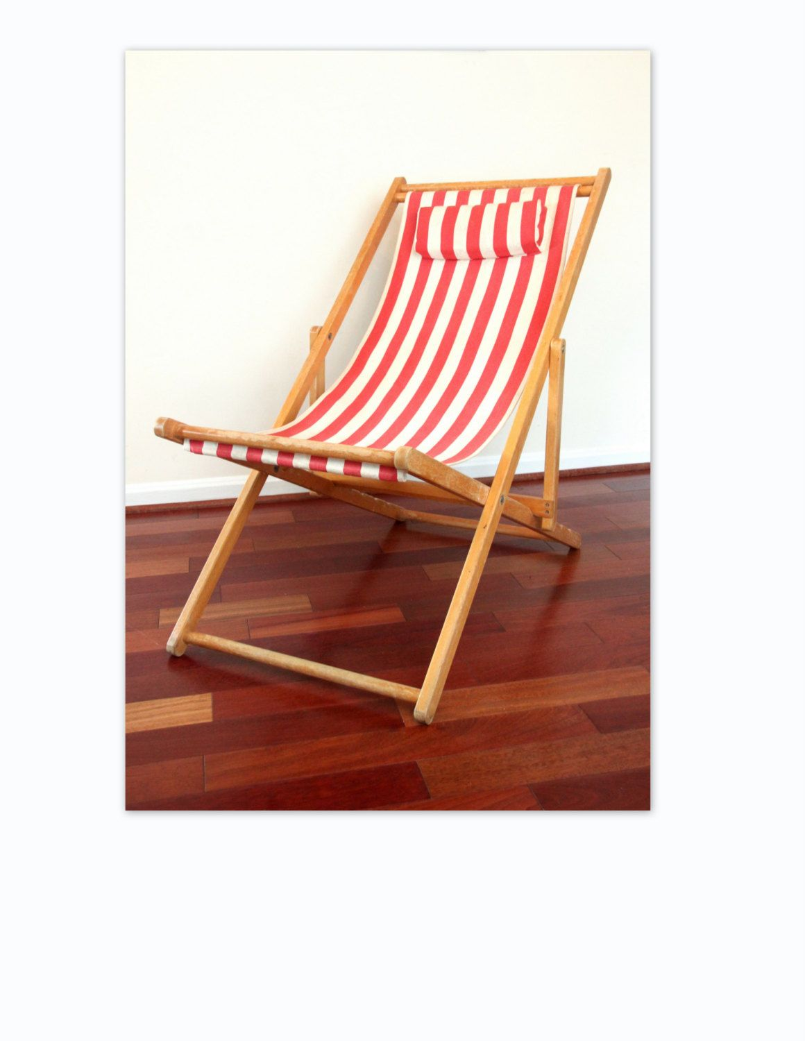 Vintage folding beach chairs - Folding Deck Chair With Red Striped Fabric Beach Chair Reclining Chair Stripes Canvas Chair Sling Chair Outdoor Chair Wth 700