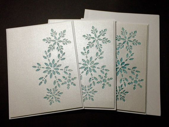 3 Handmade Snowflakes Christmas cards Blue and White by Lufianti