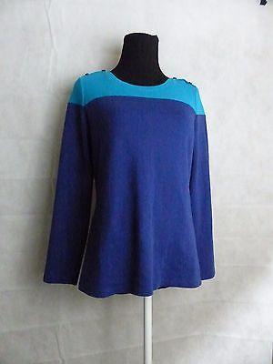 Liz Claiborne Blue New York Long Sleeve Color Block Knit Top Size Small  QVC