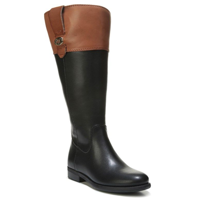 a8f7b11633d Tommy Hilfiger Women s Shano Tall Shaft Boots (Black Tan)