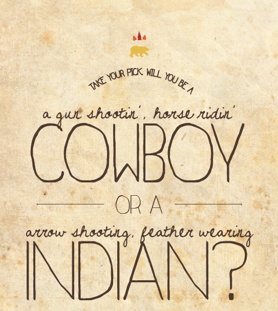 stationery invitation cowboys and indians birthday party western