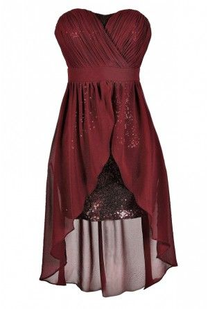 ed3c0345ec Darby Sequin and Chiffon High Low Dress in Burgundy
