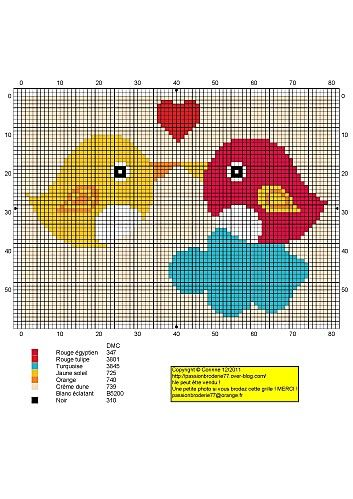 Free Love Birds on Cloud Cross Stitch Chart Pattern