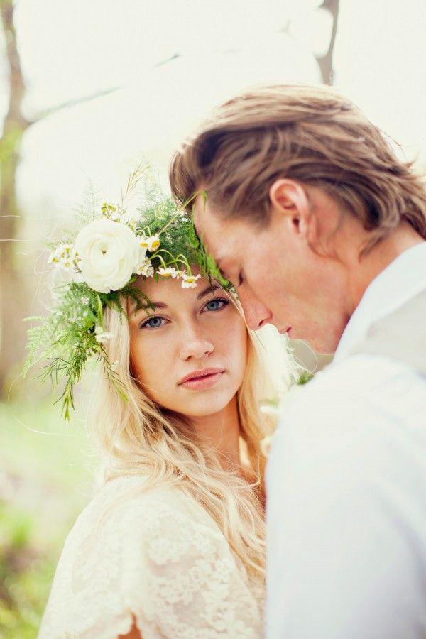 floral crown, lace dress