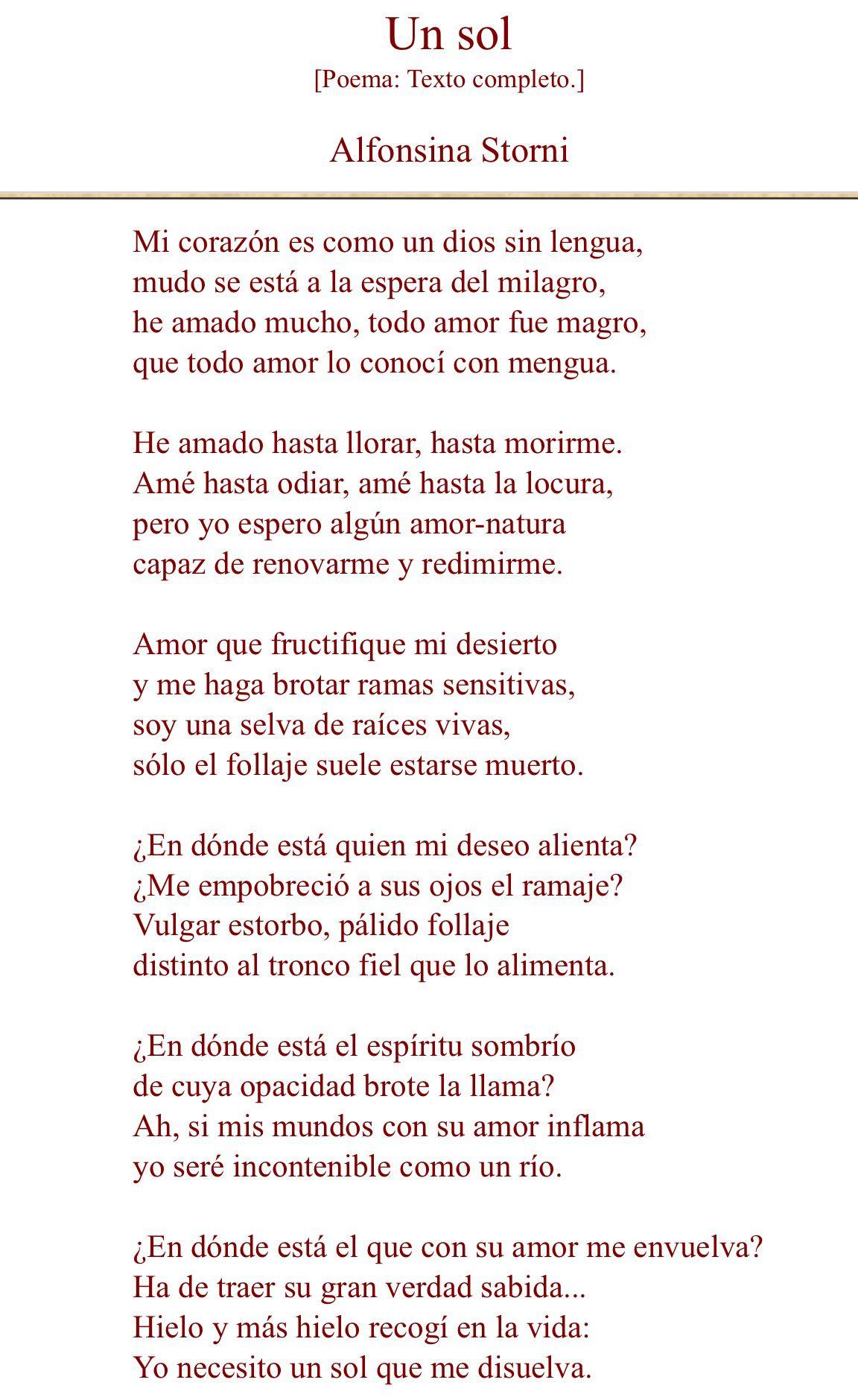 Un Sol Alfonsina Storni Alfonsina Storni Frases Citas