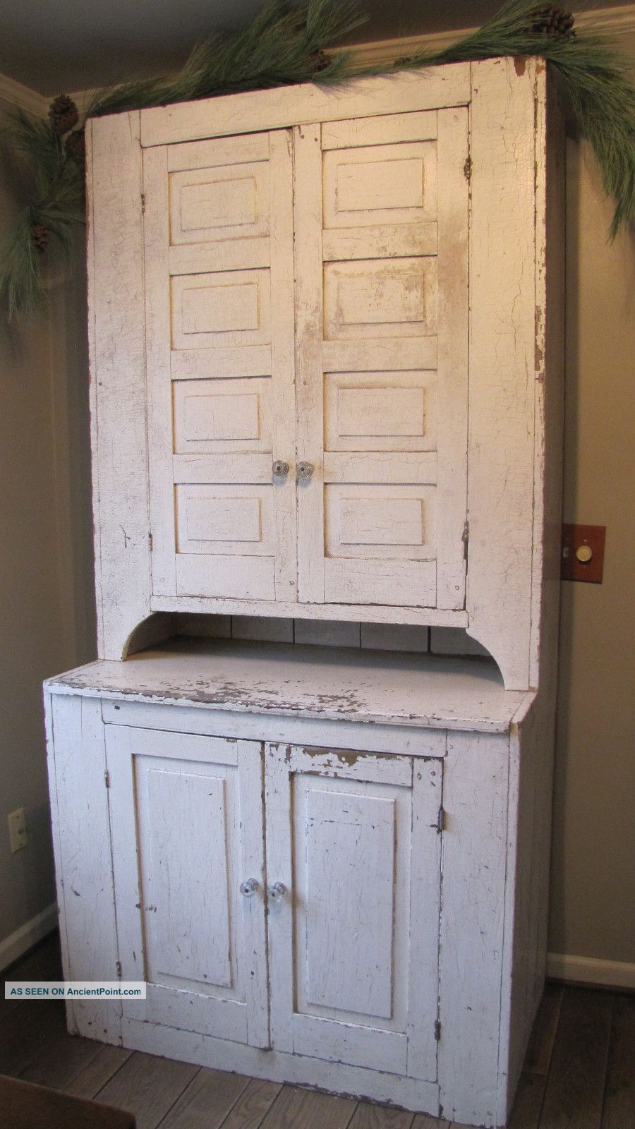 LOVE this old19th C Huge Early Old Primitive Wooden Step Back Cupboard Cabinet White Paint