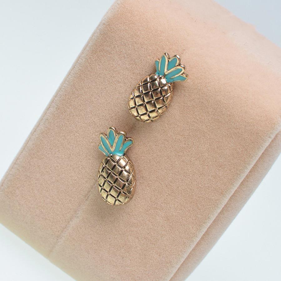 Ear piercing ideas simple  Poshy Cute Green Enamel Gold Pineapple Stud Earrings  Jewelry