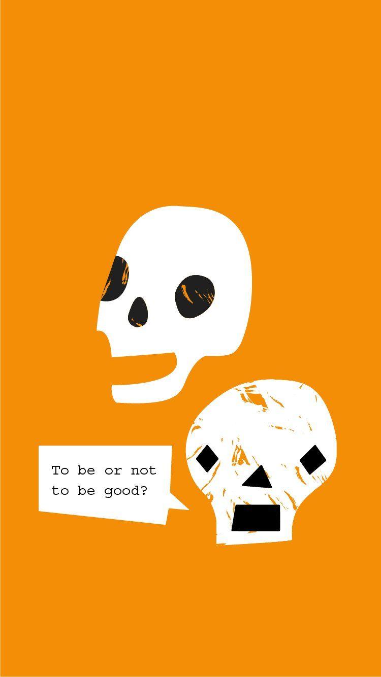 Arvowear Skulls Hamlet Halloween Orange Background Minimal