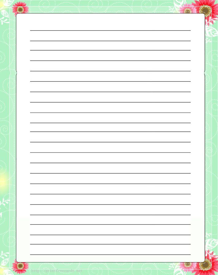 Flowers Free Printable Stationery For Kids, Regular Lined Floral Free  Printable Kids Writing Paper  Lined Letter Writing Paper