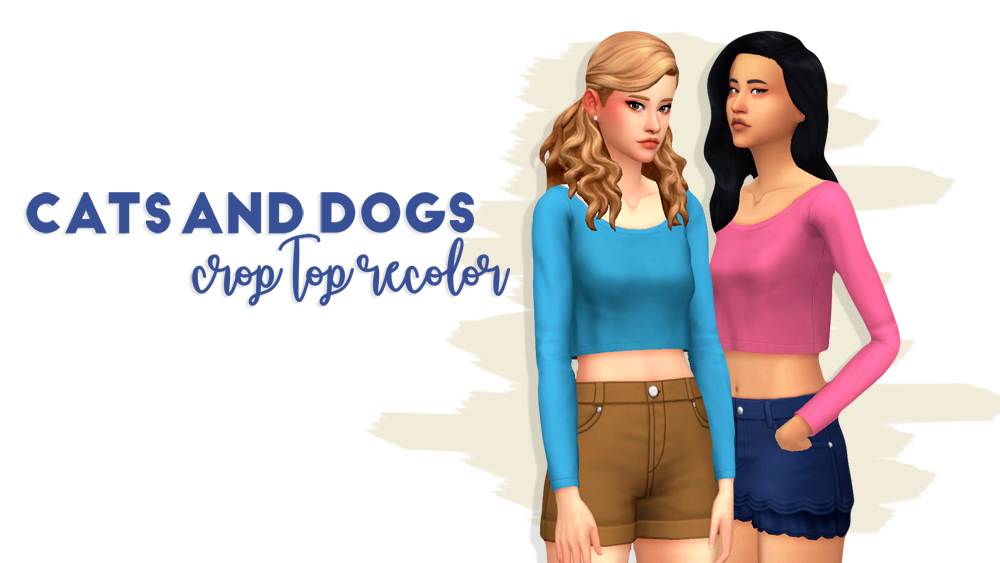 Solid Recolors Of The Crop Top From Cats Dogs Sims 4 Custom
