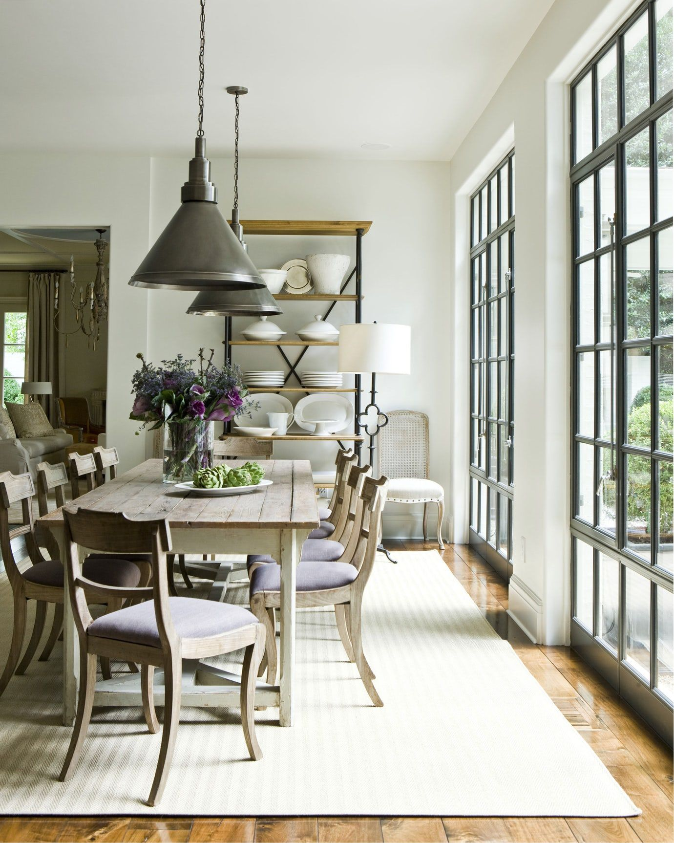 At Home Dining Room With Large Windows Dining Contemporary American Transitional By Suz Farmhouse Dining Rooms Decor Farmhouse Dining Room Farmhouse Dining