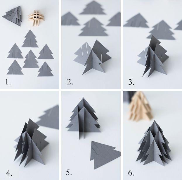 Der kreative DIY Blog für Wohnsinnige und Selbermacher.: [Kreativ-Adventskalender:Türchen #9] 3-D Weihnachtsbaum aus Papier + Holz inkl. Vorlage