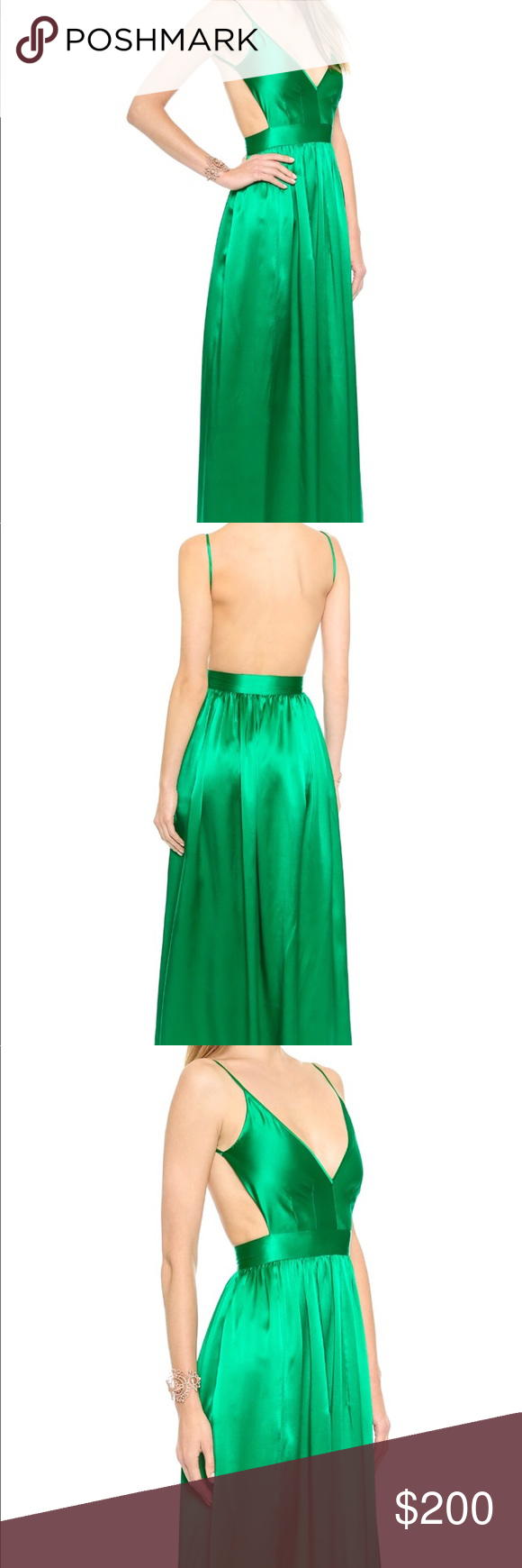 Shopbop green backless gown worn once shop bop backless green silk