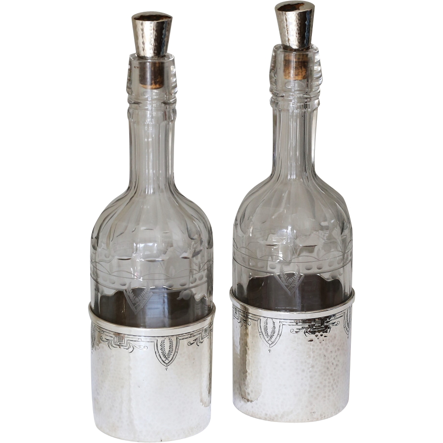 Antique Pair of Sterling and Etched Glass American Decanters circa 1910 - Antique Pair of Sterling and Etched Glass American Decanters circa 1910