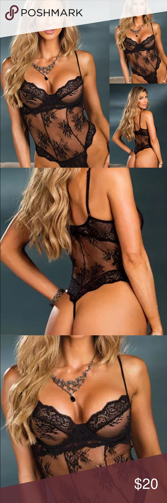 "984aae21bcd ""MIDNIGHT MADNESS"" Black Sheer Lace Thong Teddy ONE Piece Spandex BLACK  Sheer Lace String"