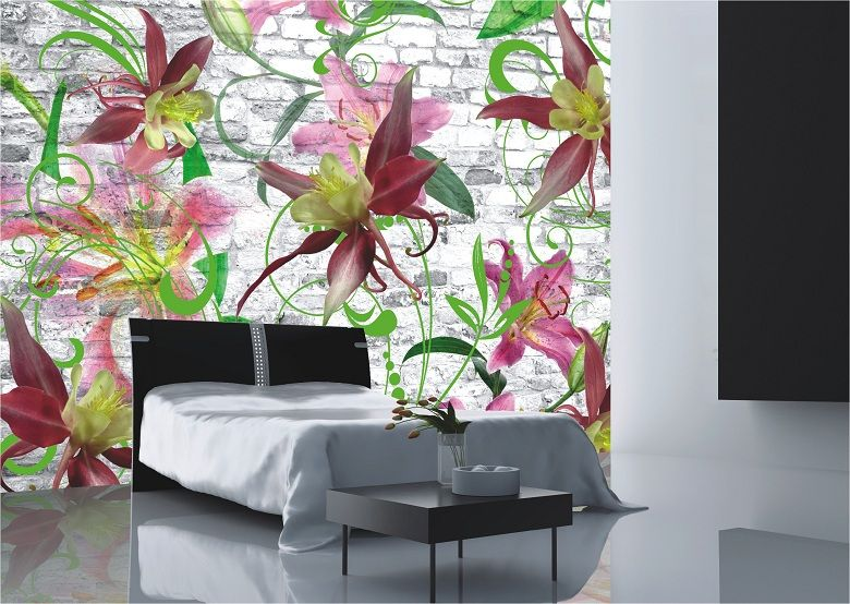 Blumen Fototapete günstig im wwwtopdesignshopde kaufen - wandtattoo schlafzimmer günstig