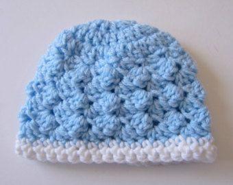 Newborn Boy Hat, Crocheted Baby Hat, Photo Prop, Blue Baby Hat, Infant Hat, Baby Shower Gift, Crochet Newborn Hat, Baby Beanie Hat