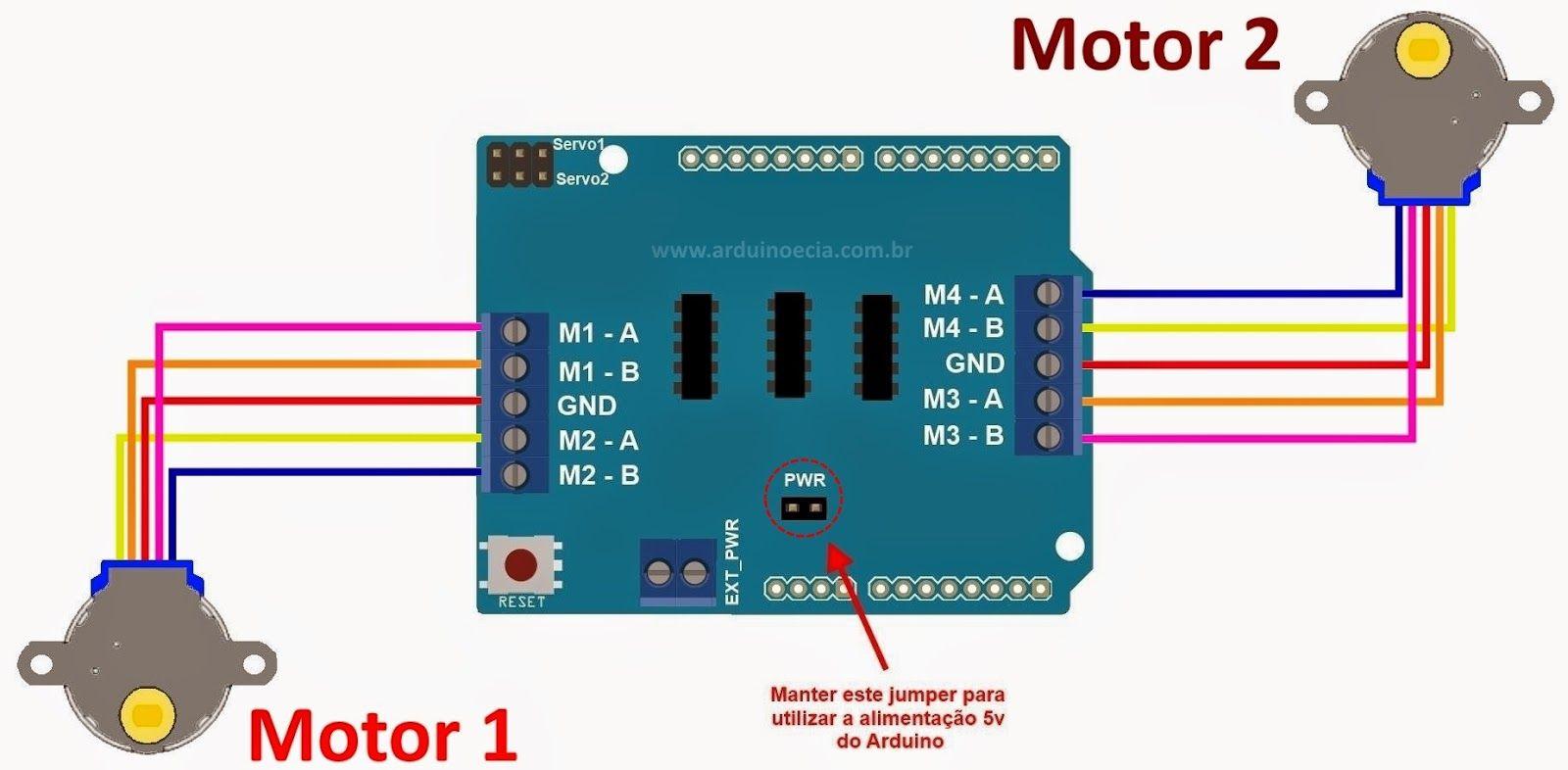 Circuito Arduino : Controlando motores de passo byj com o arduino motor shield