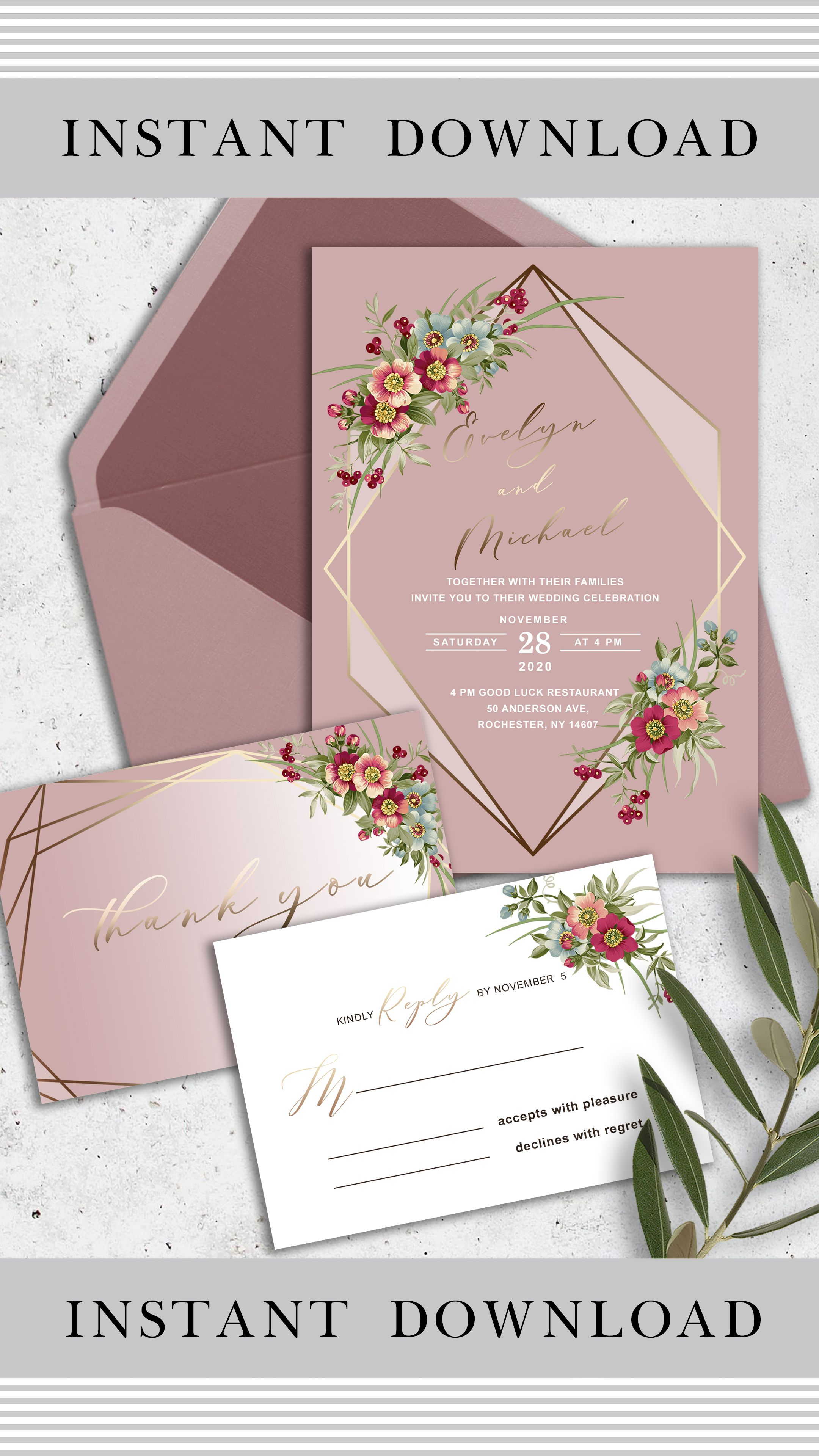 Floral Wedding Invitation Template Geometric Wedding  Etsy in