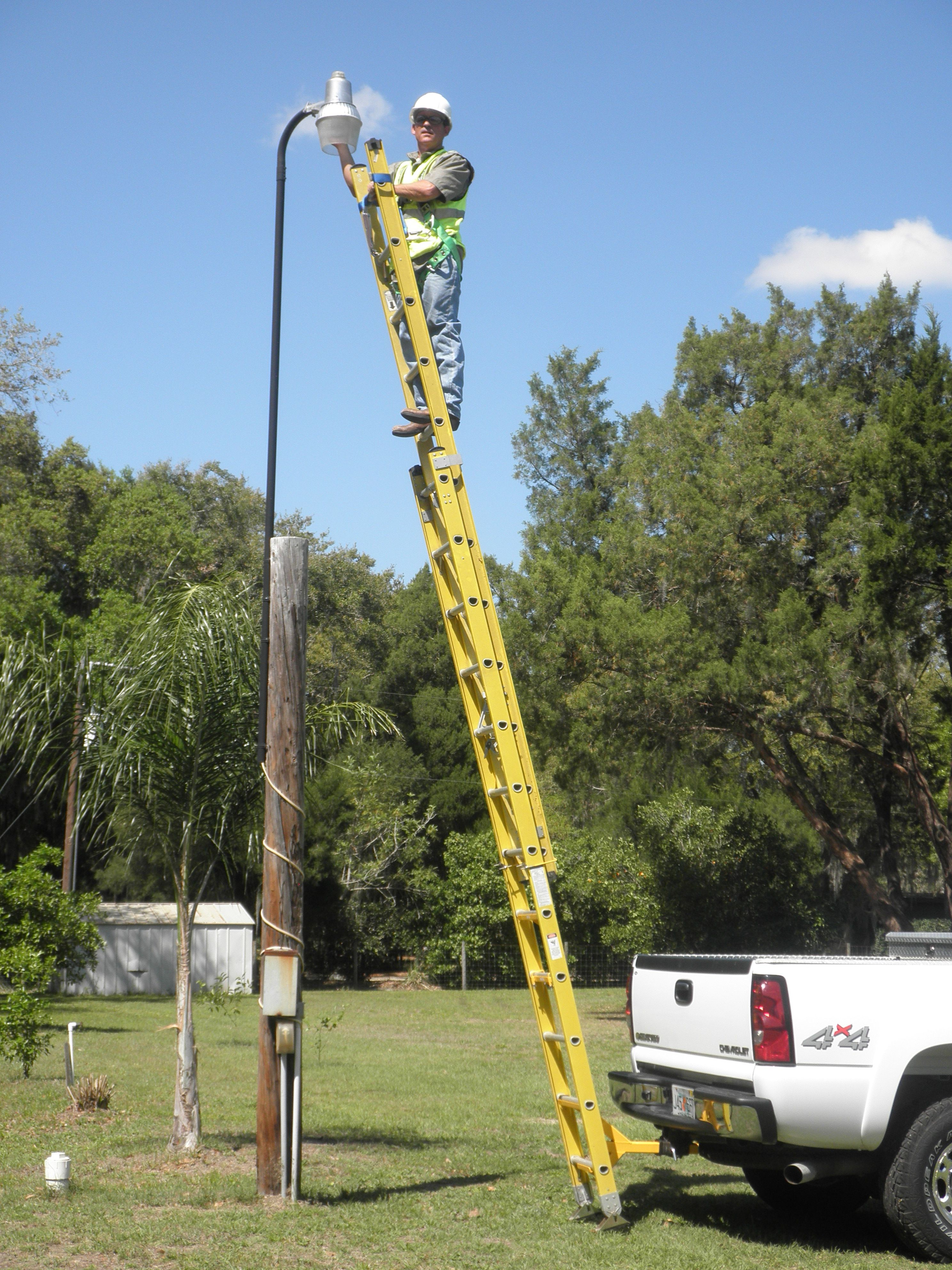 Imagine Not Having To Lean Your Extension Ladder Against A Pole When Changing The Lamp The Monkeyrack Construction Tools Homemade Tools Tools And Equipment