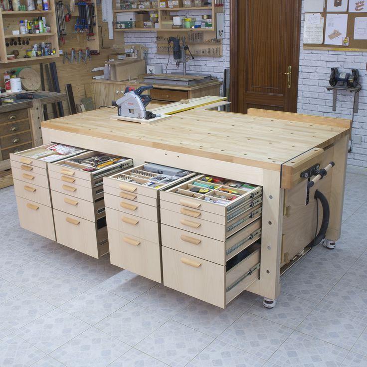 Construction D Atelier Multifonction Haute Capacite Garage Atelier Plan De Travail Bois Rangement Outils