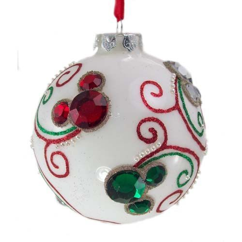 Disney Christmas Ornament - White Ball With Jeweled Mickey Ears #disneycrafts