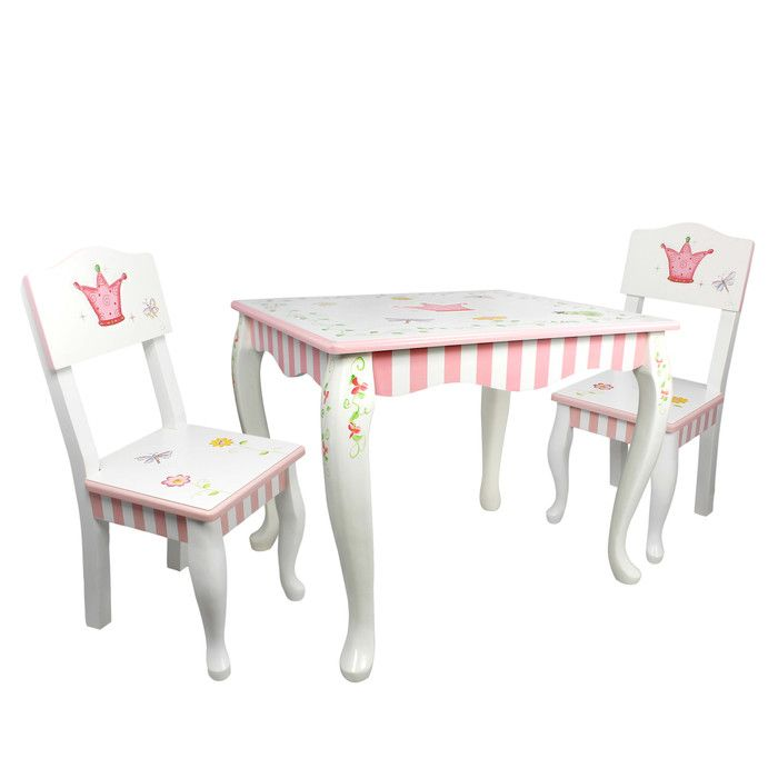 Teamson Fantasy Fields Princess and Frog Kidu0027s Table Set (Princess u0026 Frog Table u0026 Set of 2 Chairs)  sc 1 st  Pinterest & Kids 3 Piece Rectangular Table and Chair Set