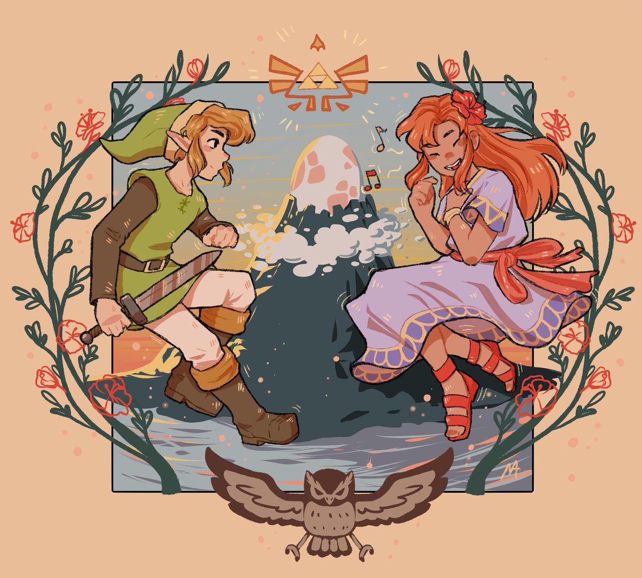 Legend Of Zelda Link S Awakening Art Link And Marin