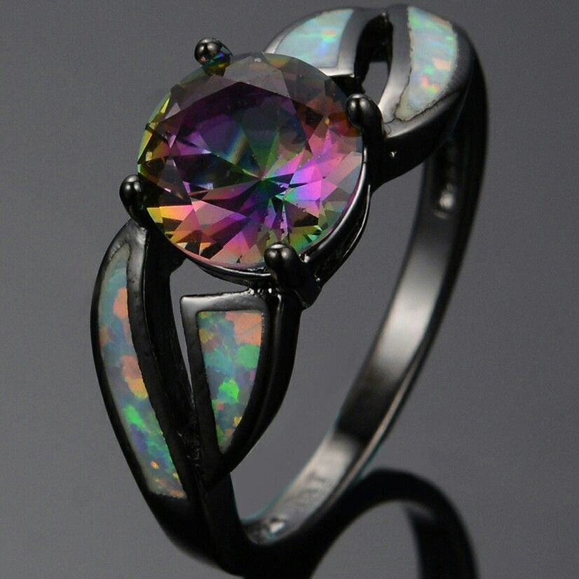 cd7bf9e858 Onyx ring with fire Opal inlays