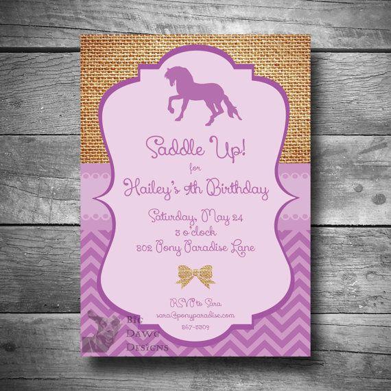 Horseback Riding Invitation, Pony Party Invitation, DIY Horse - fresh invitation for birthday party by email