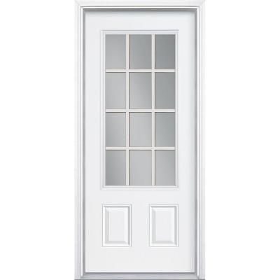 Masonite Premium 12 Lite Primed Steel Entry Door With Brickmold 93019 At The Home Depot Entry Doors Steel Entry Doors Masonite