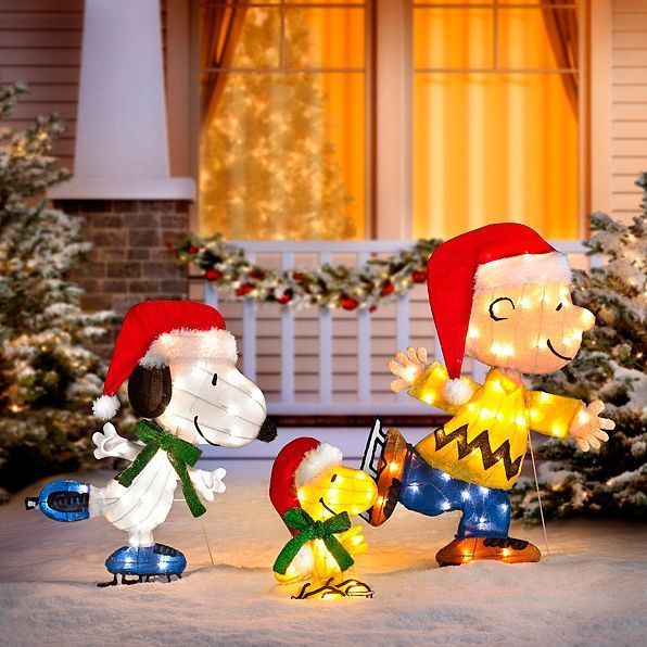 60 Outdoor Lighted Peanuts Gang Ice Skating Christmas Yard Decoration Scul Christmas Yard Decorations Christmas Lawn Decorations Outdoor Christmas Decorations