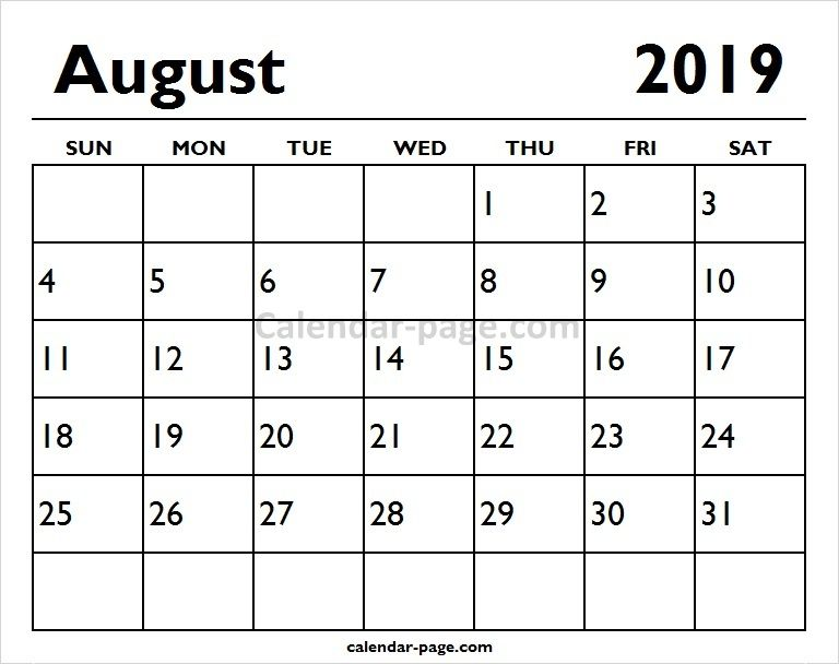 Printable Monthly Calendar 2019 August Calendar Pages Printable