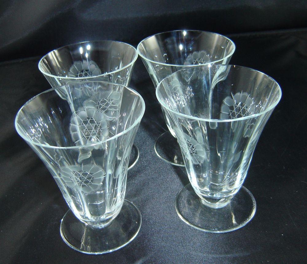 "HUGHES CORNFLOWER OPTIC FOOTED TUMBLERS Parfait Glasses 3 5/8"" Lot of 4 VTG Mint"
