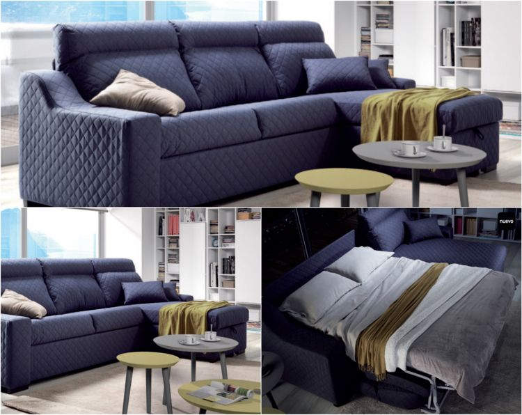 XXL Sofa Mit Bettfunktion In Dunkelblau