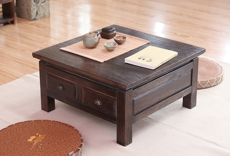 239.00$  Watch here - http://ali728.worldwells.pw/go.php?t=32585112173 - Japanese Antique Tea Table Wooden Cabinet With Two Drawer Square 65cm Paulownia Wood Traditional Asian Living Room Furniture 239.00$