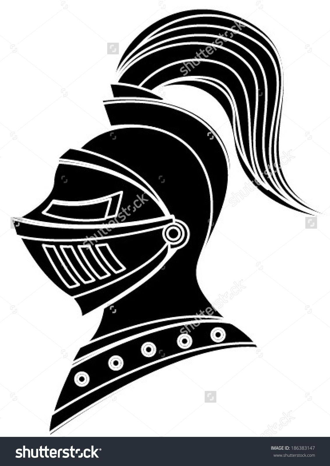 knight helmet silhouette black and white clipart