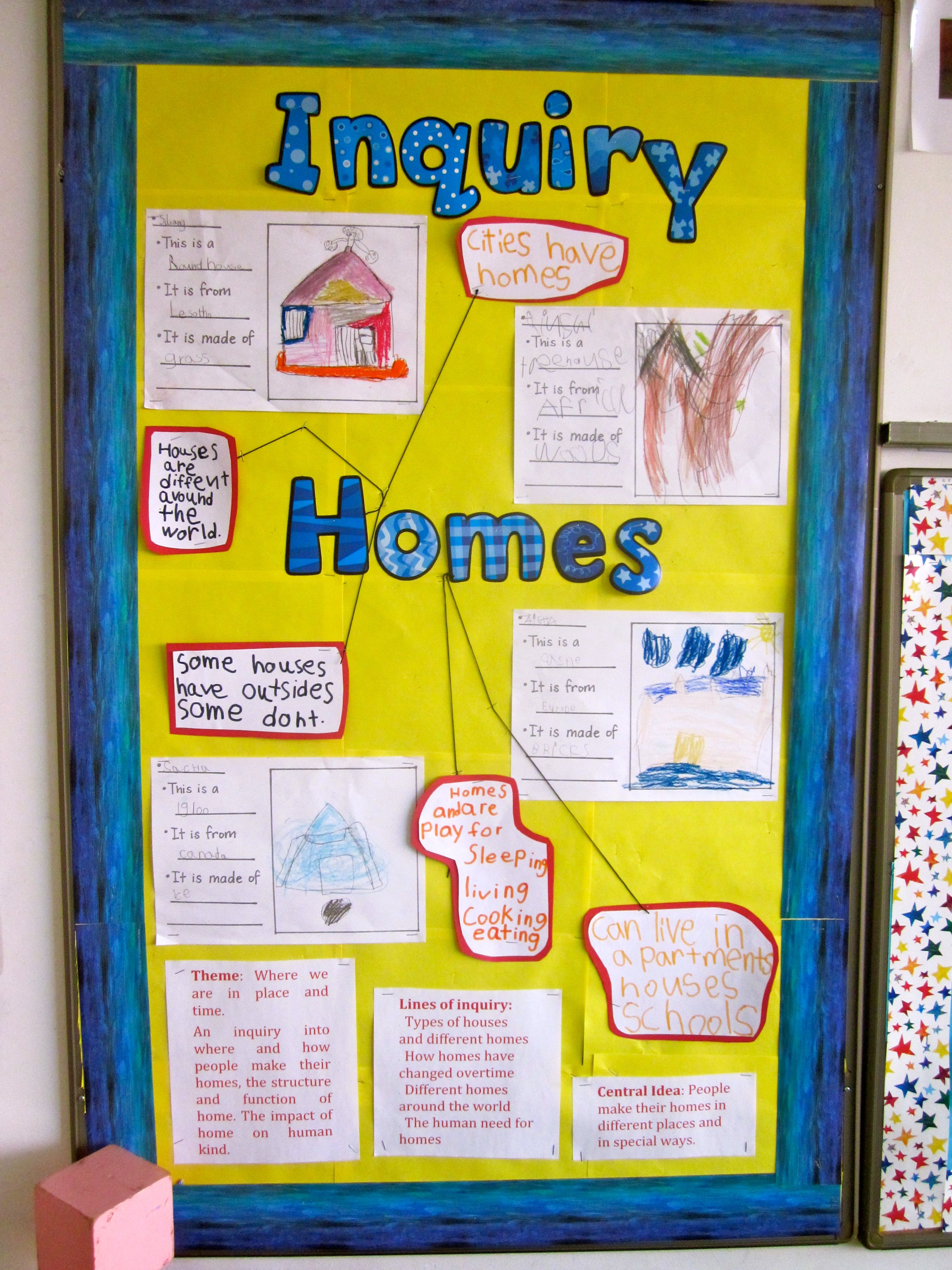 Pyp Kindergarten Made Board For Inquiry Into Homes Around The World