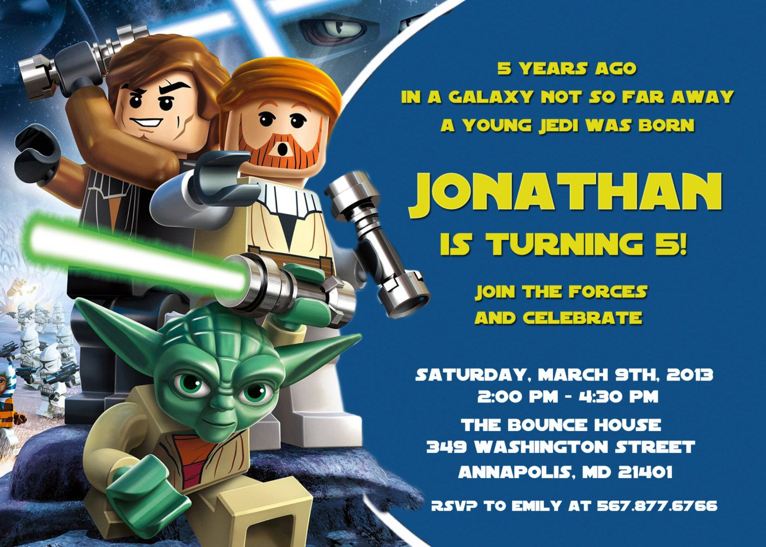 Lego Star Wars Birthday Party Invitation