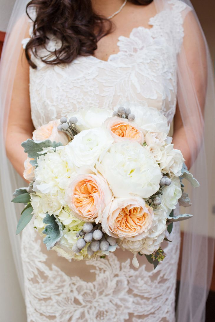 Pale Neutral Garden Rose And Brunia Bridal Wedding Bouquet Photo Perez Photography