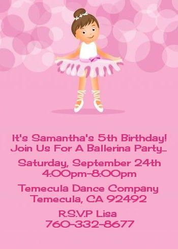 Ballet dancer birthday party invitations ballerina birthday ballet dancer birthday party invitations filmwisefo