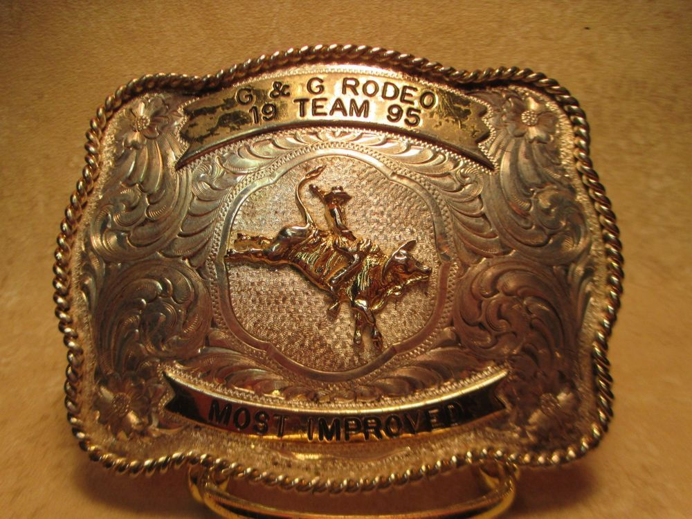 NEW HORSE HEAD SILVER GOLD FARM WESTERN COWBOY RODEO  BELT BUCKLE