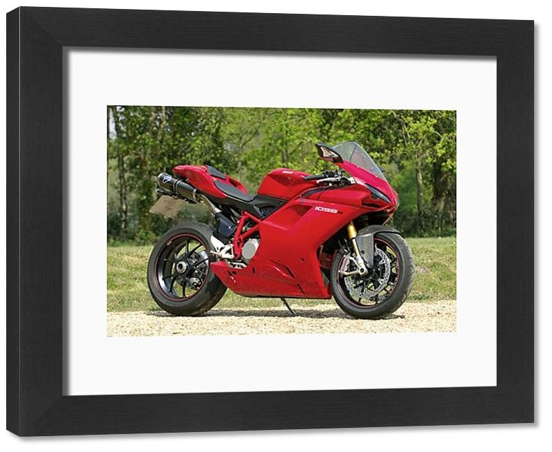 33x28 cm frame with high quality print. Ducati 1098s Italy. lines, duke, sexy, stylish, ducati, 1098, 1098s, throroughbred. Image supplied by Car Photo Library