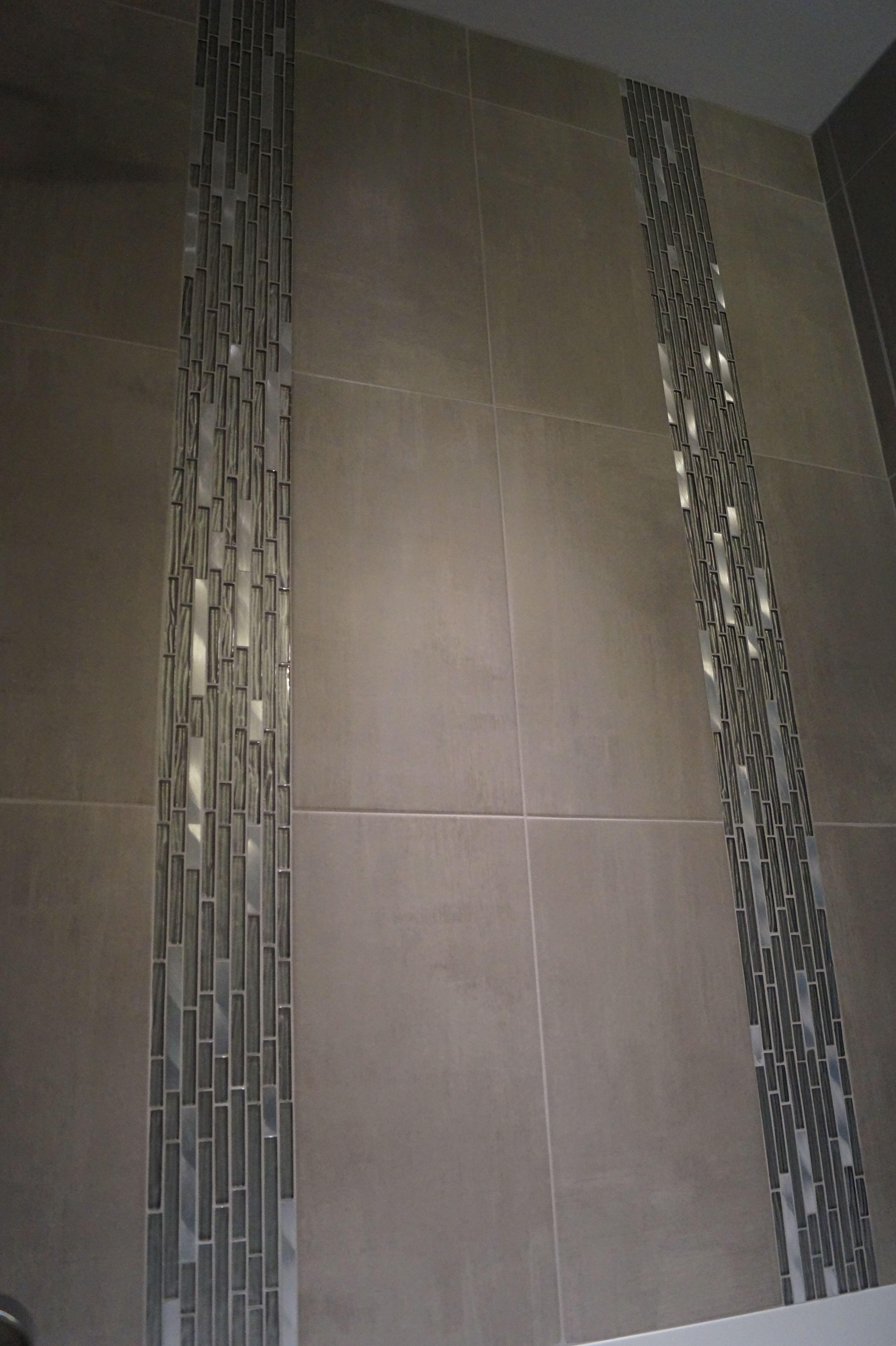 Custom Tiled Shower With 2 Accent Strips Custom Tiles Shower